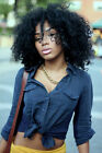 Black Women's Shoulder Length Afro Fluffy Cheap None Lace Curly Hair Wigs + Cap
