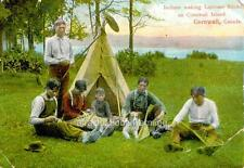 """Old Photo Cornwall Canada """"Indians - Putting Together Lacrosse Sticks"""""""