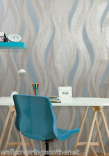Grey & Blue With Silver Glitter, Wave Design, Blown Vinyl Wallpaper