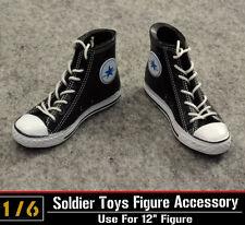 """ZY Toys 1/6 Female Fashion Straps Black Canvas Dress Women Shoes Fit 12"""" Figure"""