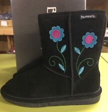 Adorable Bearpaw Buttercup Round Toe Suede Winter Boot in Black Girls Size 4