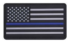 Subdued PVC Rubber Hook Loop Thin Blue Line Support The Police US USA Flag Patch