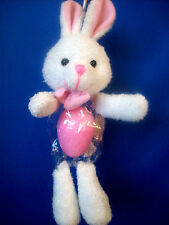 """EASTER BUNNY With Plastic & Velcro Pouch for Plastic Egg to Hold Candy!  9""""  NEW"""