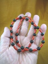 "(v30-61) 18"" long 13x5 red Bamboo coral + black onyx beaded Necklace JEWELRY"