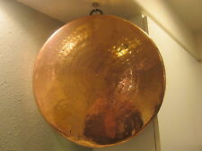 """Antique 18"""" Hammered Solid Copper Tin Lined Hanging Pan Iron Ring Decorative"""