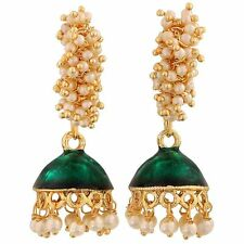Maayra Smashing Green White Meenakari Festival Jhumki Earrings MY9075