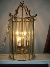 Lg. Vintage Brass Lantern Candelabra Hanging Light Beveled Glass Panes