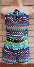 OCEAN CLUB PURPLE GREEN TRIBAL MESH BEACH TUNIC PLAYSUIT ALL IN ONE 14 L