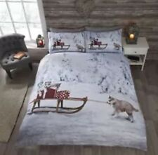 Husky And Sleigh Christmas Duvet Set Double