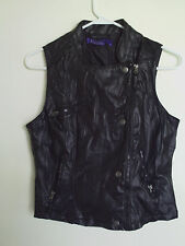 MILEY CYRUS Black Zip Polyester Lined Jacket Motrcycle Sz  M/Knit & Snap Accents