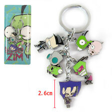 Green Alien Invader Zim Dog Suit Gir Robot Metal Keyring 5 Pendants Keychain