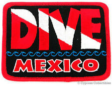 DIVE MEXICO - EMBROIDERED PATCH SCUBA DIVING FLAG LOGO IRON-ON TRAVEL SOUVENIR
