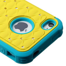 For iPhone 4 4S HYBRID IMPACT Dazzling Diamond Case Phone Cover Yellow Teal