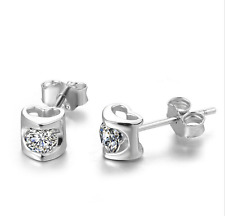 Super Sparkling *Love Heart* 925 Sterling Silver 0.5 Ct CZ Mini Stud Earring