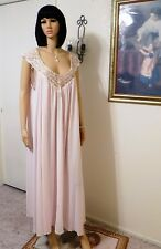 MISS ELAINE NWOT VTG Antron Nylon Nightgown PINK & Peek-a-Boo Lace size L large