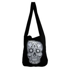 Black Canvas Sling Bag with White & Black Day of the Dead Skull Hobo Purse Sack