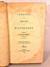 Antique Book A Treatise on the Law of Distresses1808 1st US Edition J Bradby