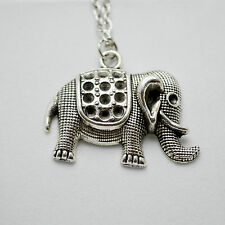 Vintage Antique Silver Elephant Pendant Charm Necklace