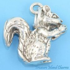 SQUIRREL EATING NUT 3D .925 Solid Sterling Silver Charm Pendant