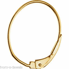 Oval INTERCHANGEABLE Leverback Earring Wires 14K SOLID Yellow Gold - ONE PAIR