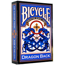 BICYCLE DRAGON BACK PLAYING CARDS DECK ORIENTAL DESIGN BLUE RED GOLD MADE IN USA