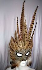FEATHER MASQUERADE, MARDI GRAS, BIRD MASK.   BROWN 9406