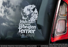 Irish Soft-Coated Wheaten Terrier - Car Window Sticker -Dog Sign Print Gift TYP2