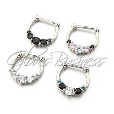 4pcs Five-Gemmed 316L Surgical Steel Septum Clicker 16G Nose Ring
