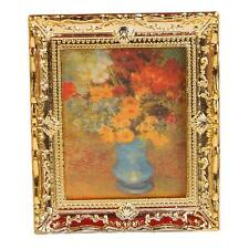 Miniature Gold Frame Print of Flower Oil Painting Dollhouse Ornament 1:12
