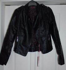 New SzS Black Faux Leather Pleather Biker Jacket Stud Epaulets Rib Stitch Detail