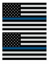 """(PAIR) THIN BLUE LINE 4"""" Subdued Flag DECALS STICKER Support Police NYPD TB2"""