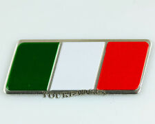 Brushed Aluminium Italian Flag Car badge Fiat Alfa
