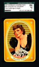 Claudette Colbert -1937 Garbaty Film Lieblinge Card #56; Passion Cig; SGC 7 (NM)