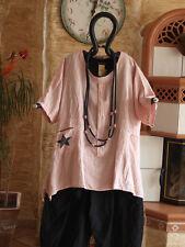 8173 LABASS 2016 Lagenlook Leinen Big Shirt STERN abend rosa L XL 44 46 48