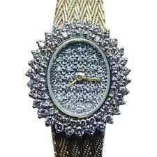 Vintage 14K Solid Gold 2ct Diamond Estate Lady' s Watch Heavy 36.7gr ITALY