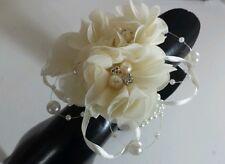 Danity Ladies/ Teen wrist corsage. Cream voile Pearl Diamante .Wedding, Prom