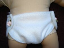 white doll diaper for 15 inch Baby Doll clothes hand made in USA fleece fabric