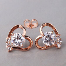 Antique style white Swarovski crystal bling 18K rose gold filled stud earring