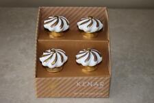 Kenar White Ceramic Gold Swirl Brass Cabinet Drawer Pull Knobs - NEW - SET OF 4