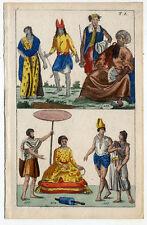Völker-Asien-Ethnologie-Trachten - altkolorierter Kupferstich 1800