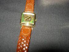 VINTAGE LADIES SQUARE WATCH--LARGE NUMBERS--BRAIDED LEATHER BAND--#Y45A