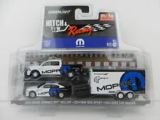 1:64 GreenLight *HITCH & TOW M&J* MOPAR RACING Dodge Ram Charger SRT & Enclosed