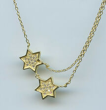 925 YELLOW GOLD VERMEIL & 1/4 CARAT TW CZ DOUBLE STAR OF DAVID NECKLACE