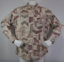 Woolrich Flannel Aztec Southwest Indian Camp Shirt Men X Large Brown 100% Cotton