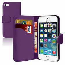 PURPLE Wallets leather Plain Case Cover with Card Slots for apple iPhone 4/4S