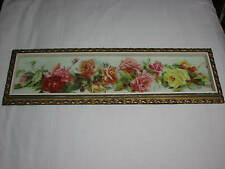Vintage Yard of Roses Framed Art Print Flowers Old Wooden Hollywood Regency Pink