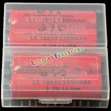 4x 3.7V 18650 GTL Li-ion 5300mAh Red  Rechargeable Battery+ 2X Battery Case Box