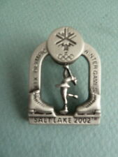 XIX Olympic Winter Games Pewter Pin Ice Skater Spins 2002 Salt Lake City
