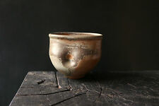 TONY MOORE studio pottery WOODFIRED STONEWARE BOWL tea bowl ash glaze