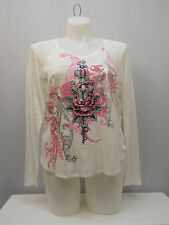 PLUS SIZE 1X Womens Knit Top SELF ESTEEM Ivory V Neck Decal Long Sleeve Pullover
